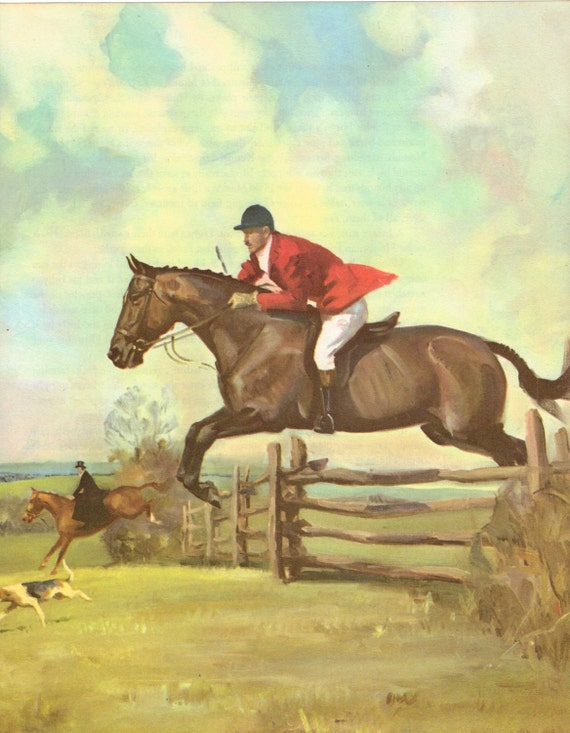 Vintage Horse Print by Artist Wesley Dennis. The Hunter Horse. Ready to Frame. (No. 54)