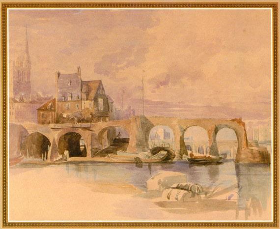 Vintage French Art Print. The Ruined Bridge. Shabby Chic, Lavender, Architecture, Arch, Chateau, Villa, Castle. (No. 117)