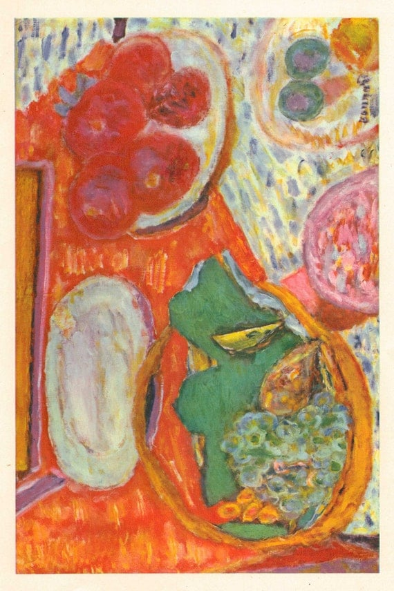 Vintage 1940s Bonnard French Fine Art Print. Still Life with Ham, 1938. By French Artist Pierre Bonnard. Contemporary, Modern. (No. 242)