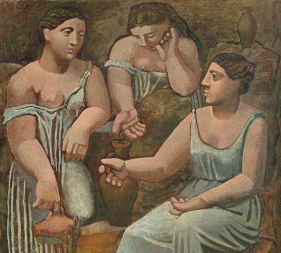 Girls at the Fountain, 1920. By French Artist Pablo Picasso. Vintage 1940s Art Print. Shabby Chic, Paris, Contemporary, Abstract. (No. 255)
