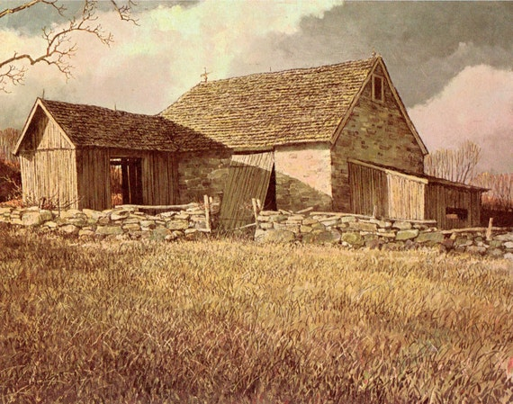 Vintage Print by Artist Eric Sloane. New Jersey Stone Barns. Ready to Frame. (No. 72)