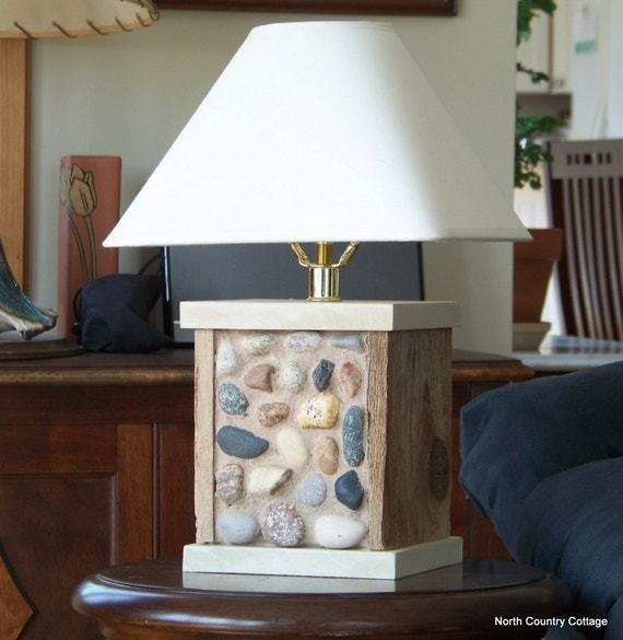 Stone and Weathered Wood Table Lamp