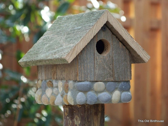 Weathered Wood Birdhouse with Stone Foundation - 1 1/8 inch Entry