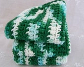 Cotton Dishcloths. Crocheted in Green, Teal,and  White.