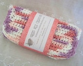 Crocheted Dish Cloths, Cotton. Pink, Lavender Purple, and White.