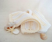 "Cotton Dish Cloths - Cream and White Stripes - Crocheted 3 Piece Set ""Vanilla Sugar"""