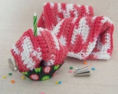 Dish Cloths, Cotton - Pink and White, Crocheted 3 Piece Set