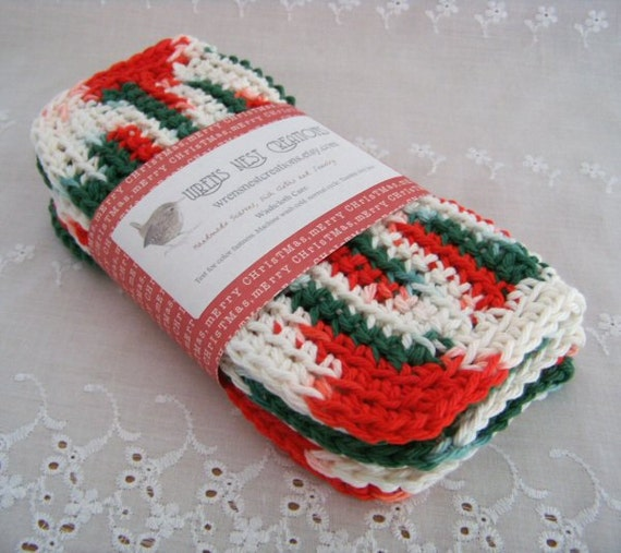 """Wash Cloths, Dish Cloths, Cotton - Red, White, Green - Crocheted 3 Piece Set """"Christmas Holiday"""""""
