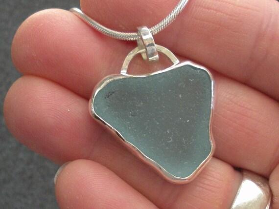 Wake Island Blue Heart Sea Glass Necklace
