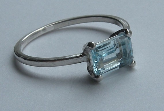 Barely Blue Topaz, Blue Topaz Ring, Emerald Cut Topaz, East West Setting, Stacked Cut, 7x5mm, Simple Clean Lines, Art Deco Style, Pale Blue