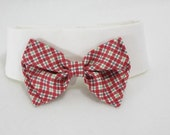 Dog collar with plaid bow tie
