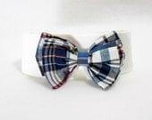 Plaid madras bow tie