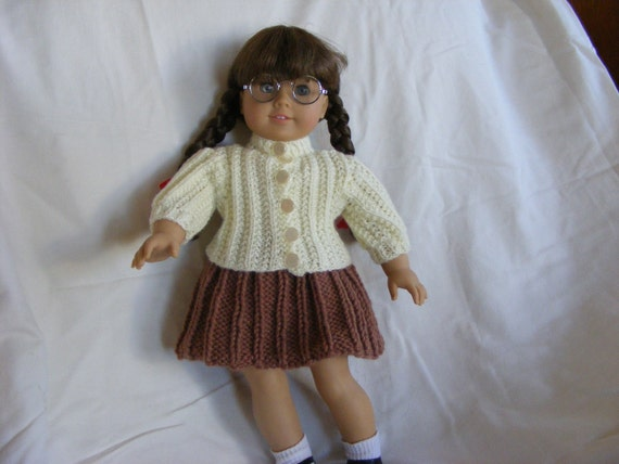 Knitted American Girl Doll Fisherman Rib Sweater and Pleated Skirt Set