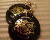 Korbel Champagne Dangle Gold, Black earrings