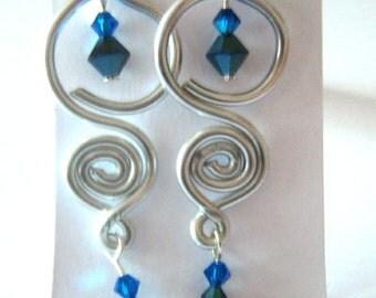 Earrings Swarovski Blue and Loop Silver Metal Wire