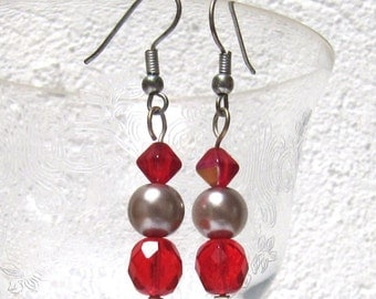 Red Ruby Earrings Crystal Facetted and Metal Grey Silver Pearl