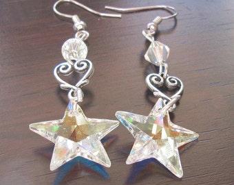 Earrings Swarovski Crystal Star and Silver Heart