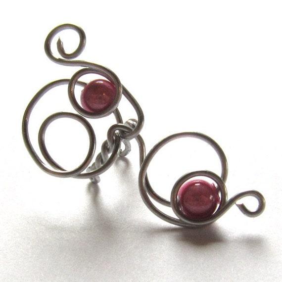 Earcuff  Wave Silver Aluminium and Rose Pearls