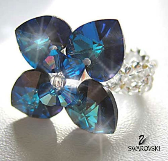 Tutorial and Instruction - How to make a Crystal Swarovski ring Flower 4 hearts - Digital download