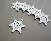 6 Christmas Ornaments -- Small Crochet Snowflake B13, in White