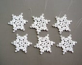 RESERVED LISTING: 9 sets of 6 Christmas Ornaments -- Medium Crochet Snowflake B30, in White