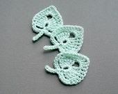 3 Mint Green Leaf Appliques -- Crochet Aspen Leaves