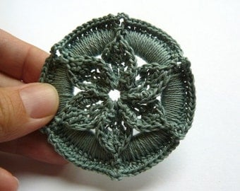 Crochet Christmas Ornament -- Sage Green Medallion