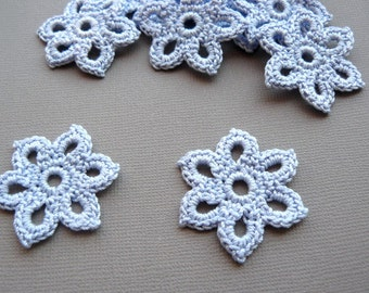 5 Crochet Flower Appliques -- 1-3/8 inch Diameter, in Cornflower Blue