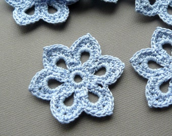 3 Crochet Flower Appliques -- 2 inch Diameter, in Cornflower Blue