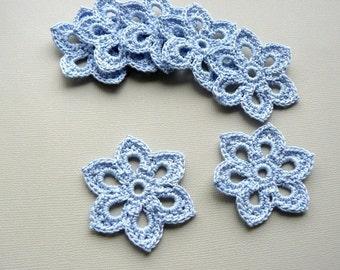 8 Crochet Flower Appliques -- 2 inch Diameter, in Cornflower Blue