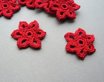 5 Crochet Flower Appliques -- 1-3/8 inch Diameter, in Bright Red