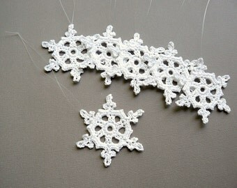 6 Small Crochet Snowflakes -- Snowflake B5, in White