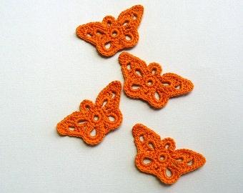 4 Orange Butterfly Appliques -- Crochet Longwing Butterflies