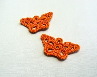 2 Crochet Butterfly Appliques -- Pumpkin Orange