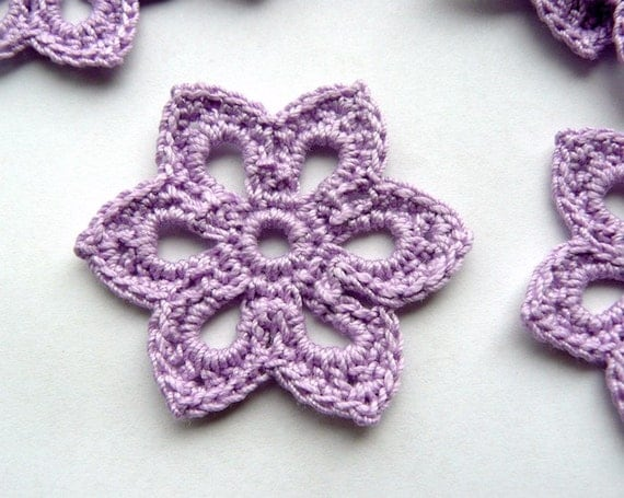 3 Crochet Flower Appliques -- 2 inch Diameter, in Lilac Purple