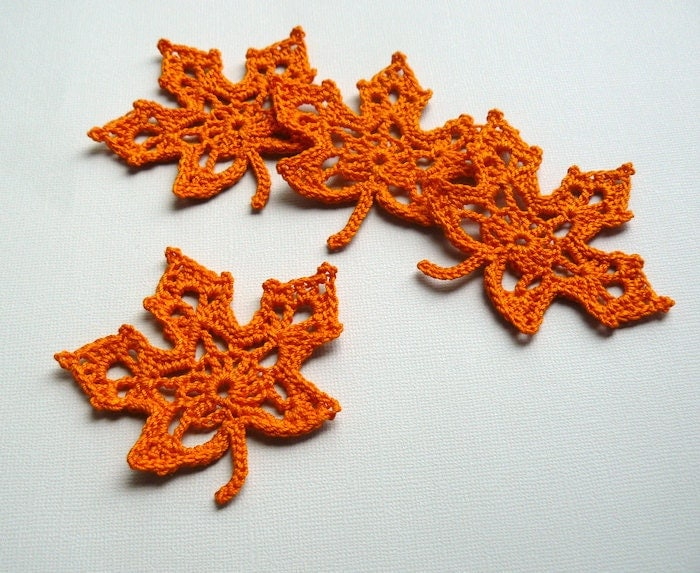 Free Maple Leaf Potholder Crochet Pattern : 4 Orange Leaf Appliques Crochet Maple Leaves by CaitlinSainio
