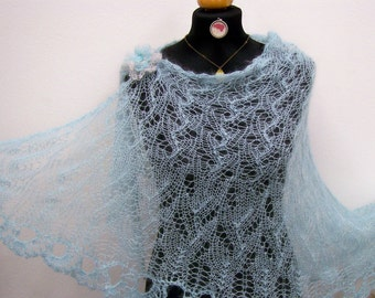 wedding shawl knitted lace wrap for a bride or special occasion aqua