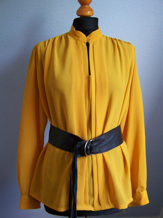 RESERVED 80's blouse yellow semi transparent vintage shirt