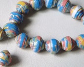 Paper Beads x 24, round, small, Pastel shades