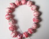 Paper Beads - Rosebud Valentine x 16, small, round