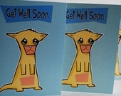 Get Well Soon Sad Cat Greeting Cards Set of 4