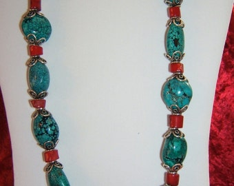 TURQUOISE BAMBOO CORAL STERLING SILVER NECKLACE HANDCRAFTED