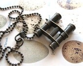 Bird Watcher - Miniature Oxidized Brass Binoculars Handmade Necklace - ComeDayGoDay