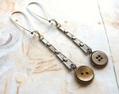 Faded Elegance - Art Deco Silver Tone Watch Strap and Vintage Shell Button Handmade Dangle Earrings