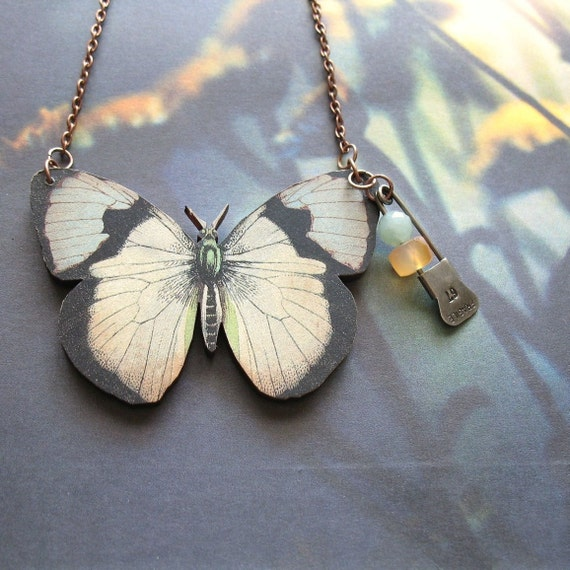 Fragile - Handmade Wooden Butterfly and Gemstone Necklace