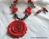 Red Coral and Black Onyx Necklace Set / Coral and Onyx Necklace and Earrings / Anna Lemons Jewelry