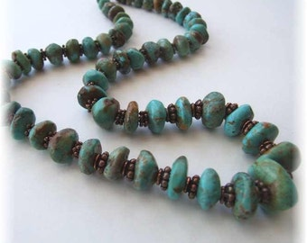 Natural Turquoise and Copper Graduated Chunky Bead Necklace