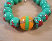 Christmas In July Sale - Metroid Inspired Beaded Bracelet - Morph Ball and Metroids - Polymer Clay