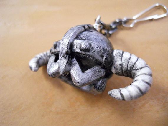 Skyrim Inspired Dragonborn Helmet - Keychain or Necklace - Polymer Clay - The Original - Valentine's Sale