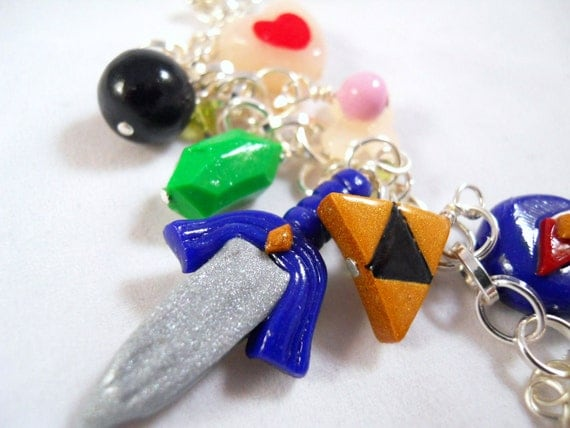 Legend of Zelda Charm Bracelet - Polymer Clay - Video Game